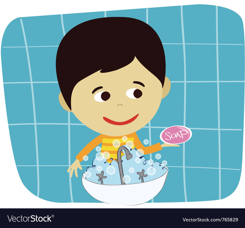 Boy hand washing vector | Price: 1 Credit (USD $1)