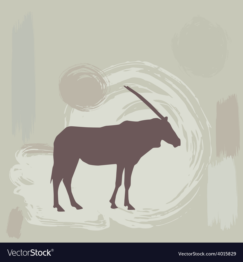 East african oryx silhouette on grunge background vector | Price: 1 Credit (USD $1)