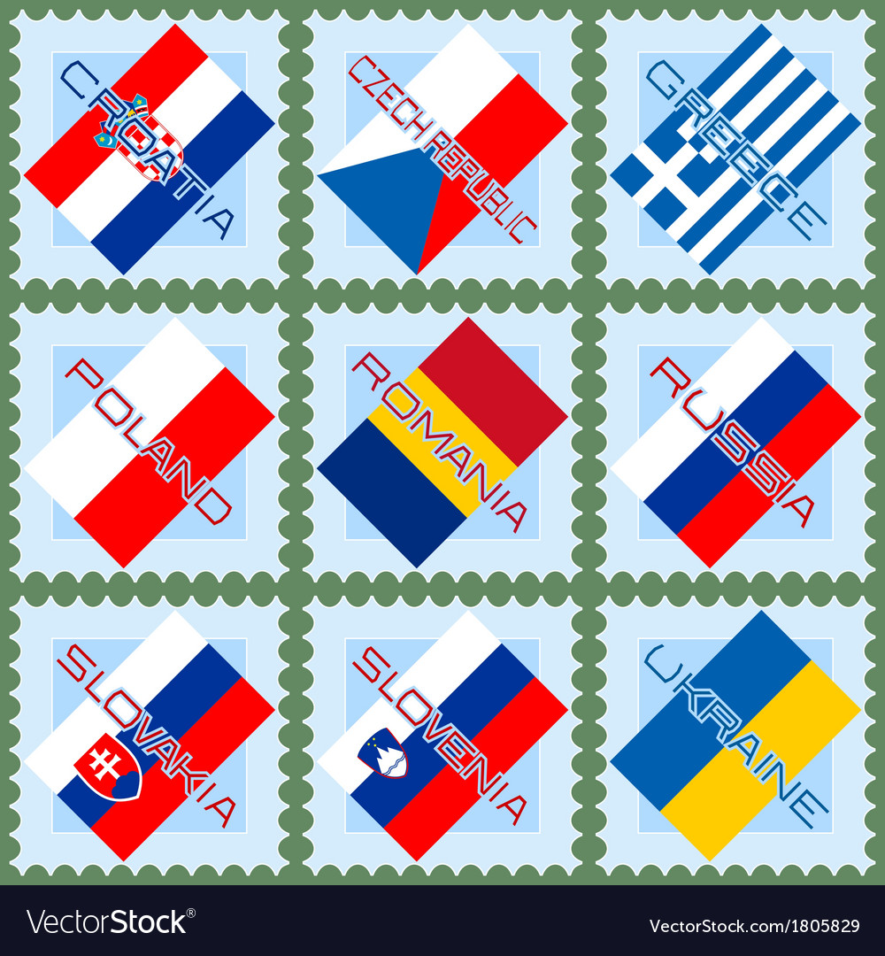 Flags on stamps vector | Price: 1 Credit (USD $1)