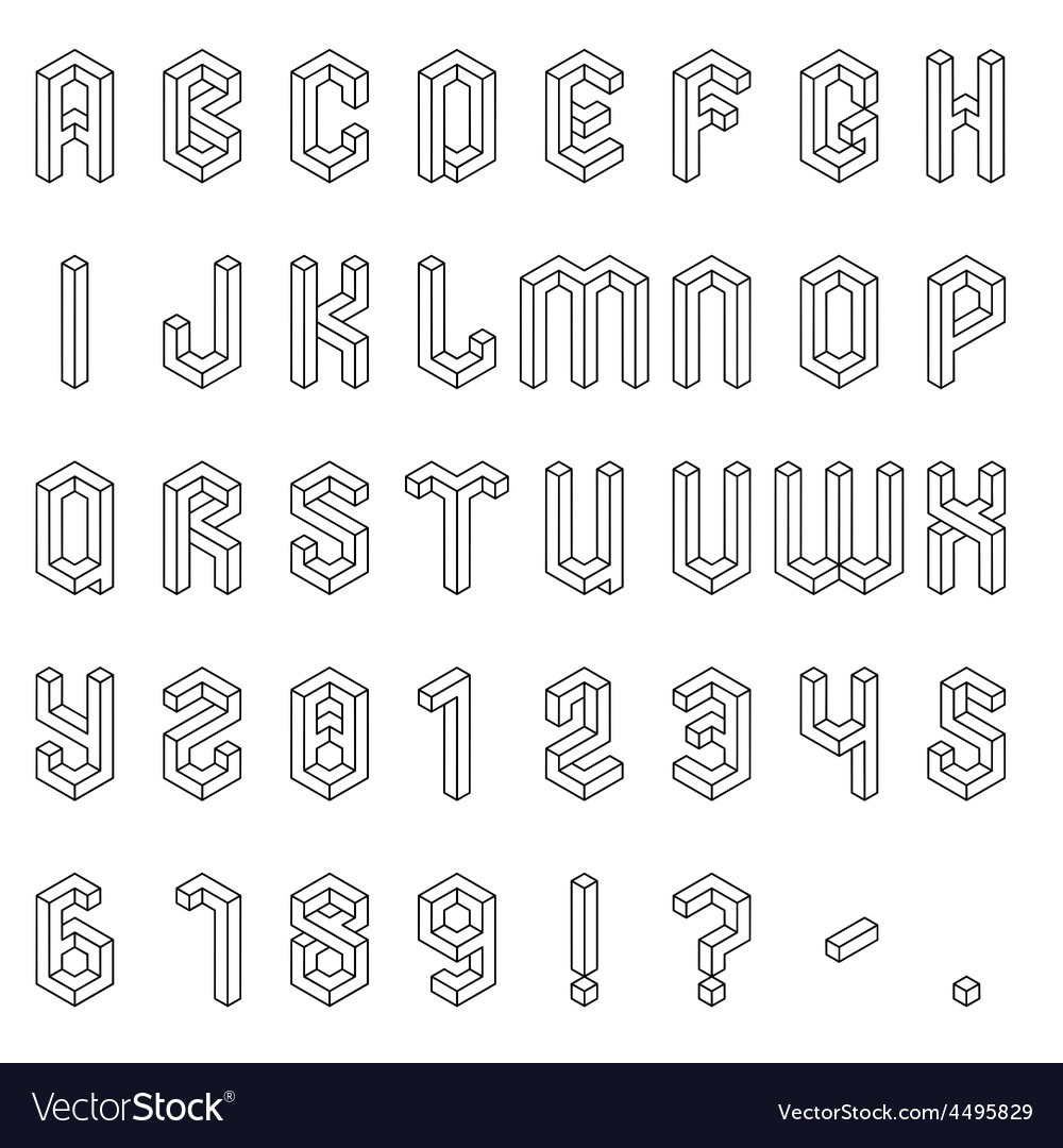 Isometric alphabet and numbers vector