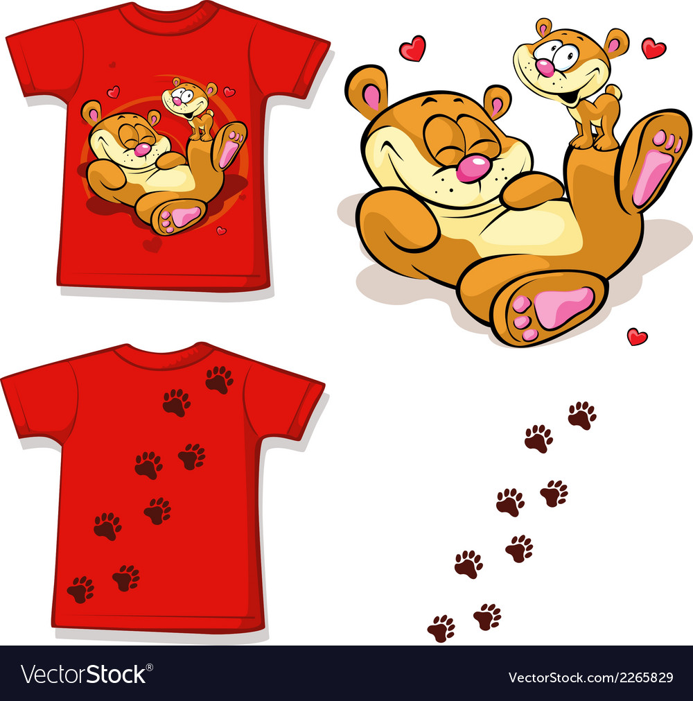 Kid shirt with cute bear printed - isolated on vector | Price: 1 Credit (USD $1)