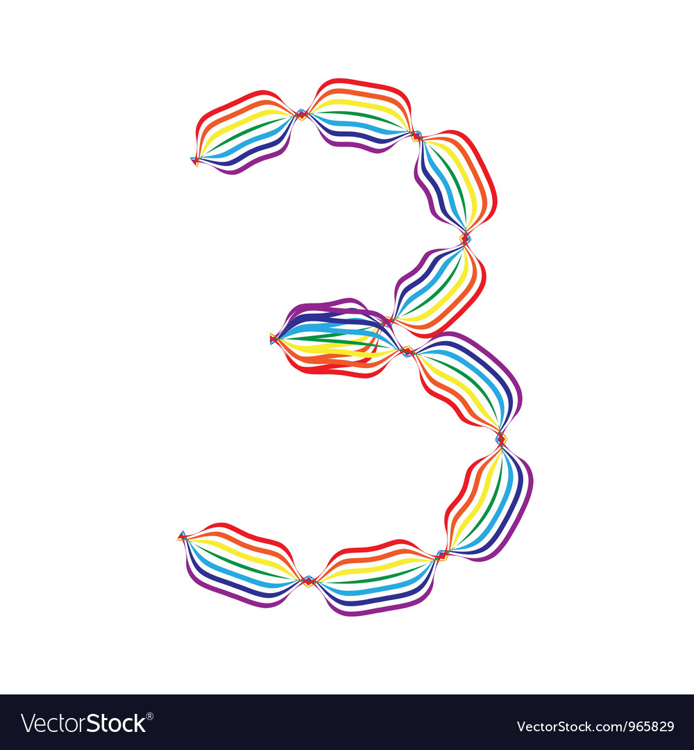 Number 3 made in rainbow colors vector | Price: 1 Credit (USD $1)