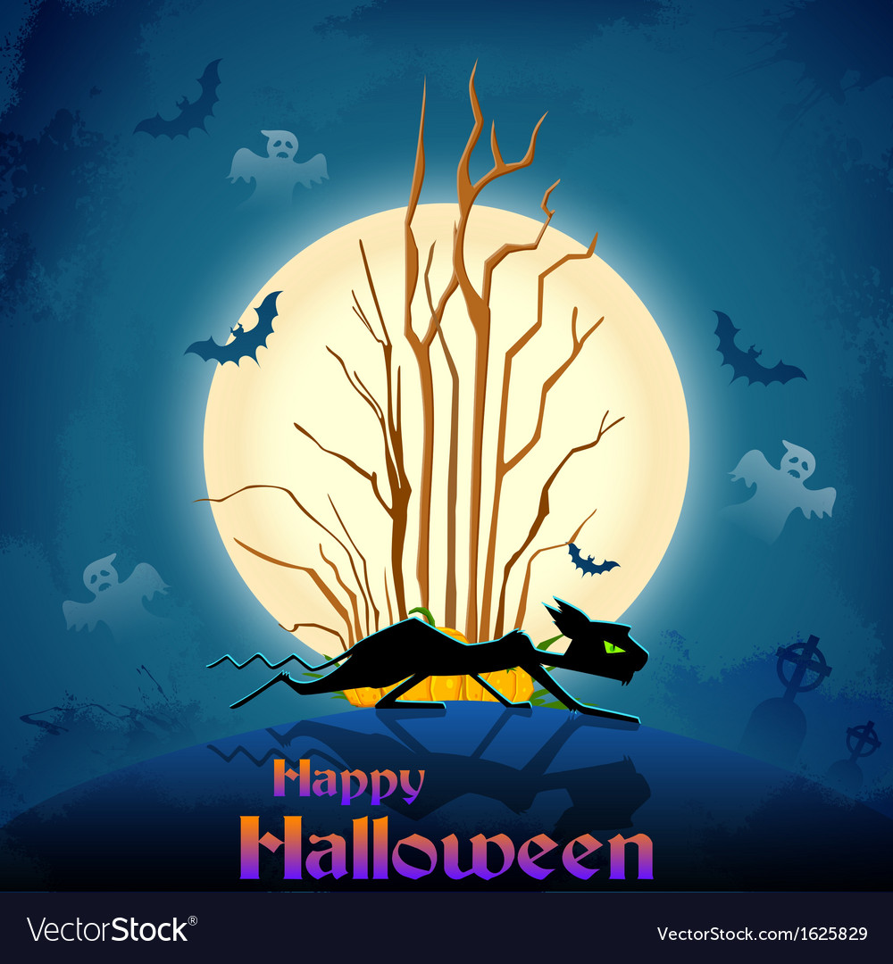 Scary cat in halloween night vector | Price: 1 Credit (USD $1)