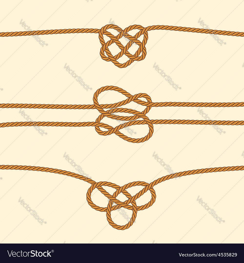 Set of rope borders with decorative knots vector | Price: 1 Credit (USD $1)