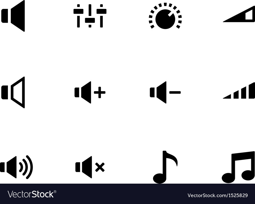 Speaker icons on white background volume control vector | Price: 1 Credit (USD $1)