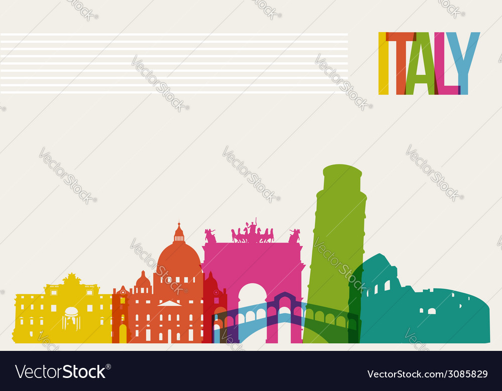 Travel italy destination landmarks skyline vector | Price: 1 Credit (USD $1)