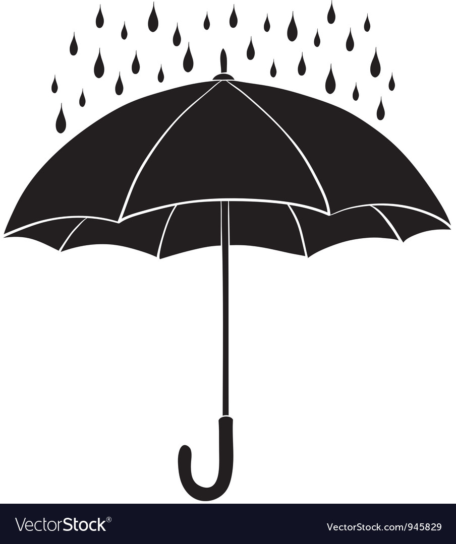 Umbrella and rain silhouettes vector | Price: 1 Credit (USD $1)