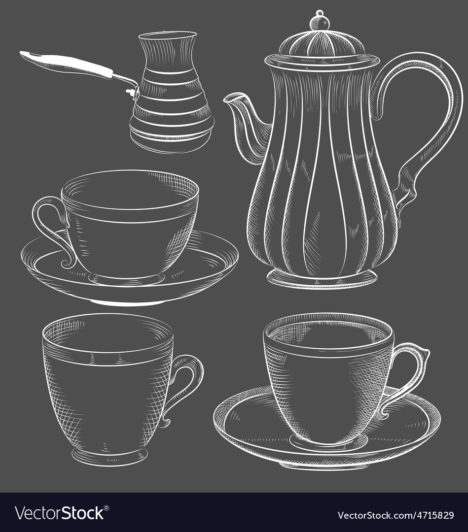 Vintage tea and coffee set hand drawn vector | Price: 1 Credit (USD $1)