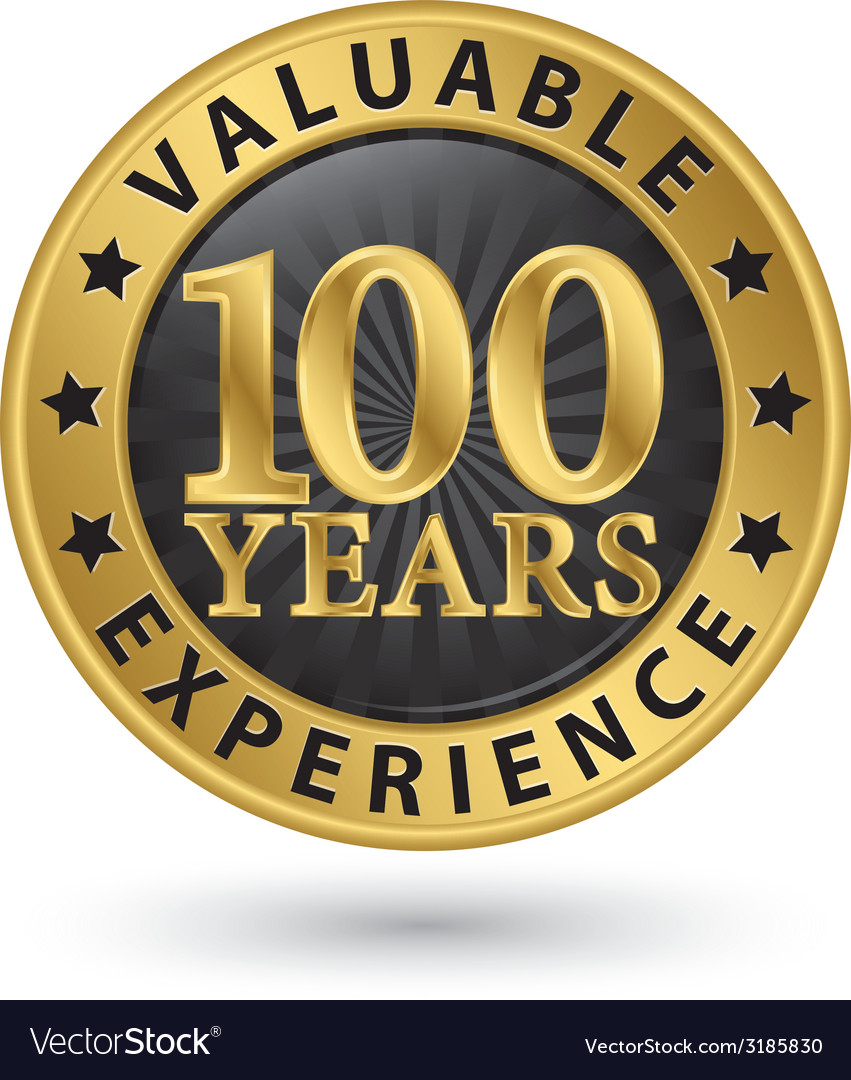 100 years valuable experience gold label vector | Price: 1 Credit (USD $1)