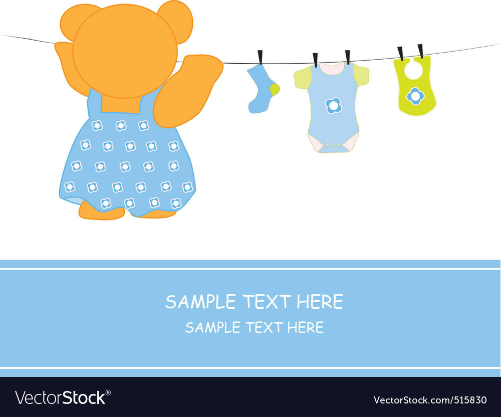 Bear hanging clothes blue vector | Price: 1 Credit (USD $1)