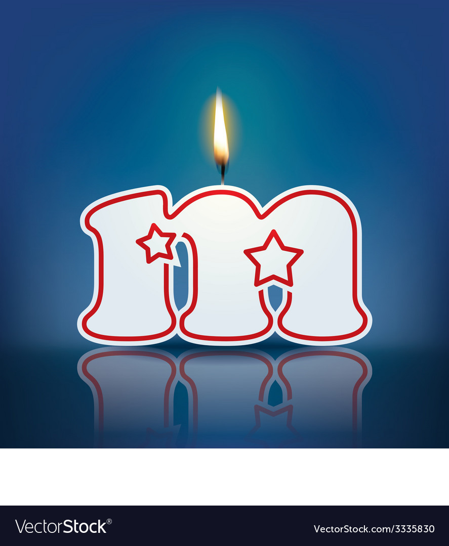 Candle letter m with flame vector | Price: 1 Credit (USD $1)