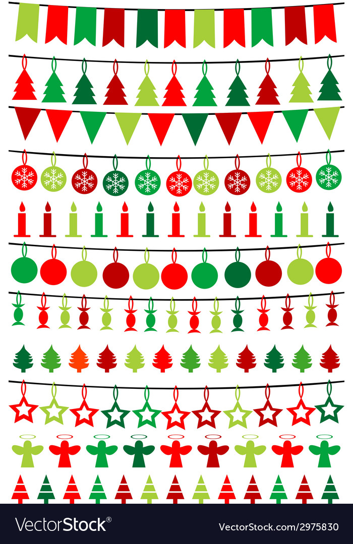 Christmas buntings and garlands vector | Price: 1 Credit (USD $1)