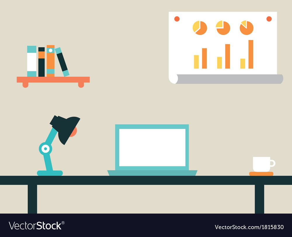 Flat of workspace interior for network vector | Price: 1 Credit (USD $1)