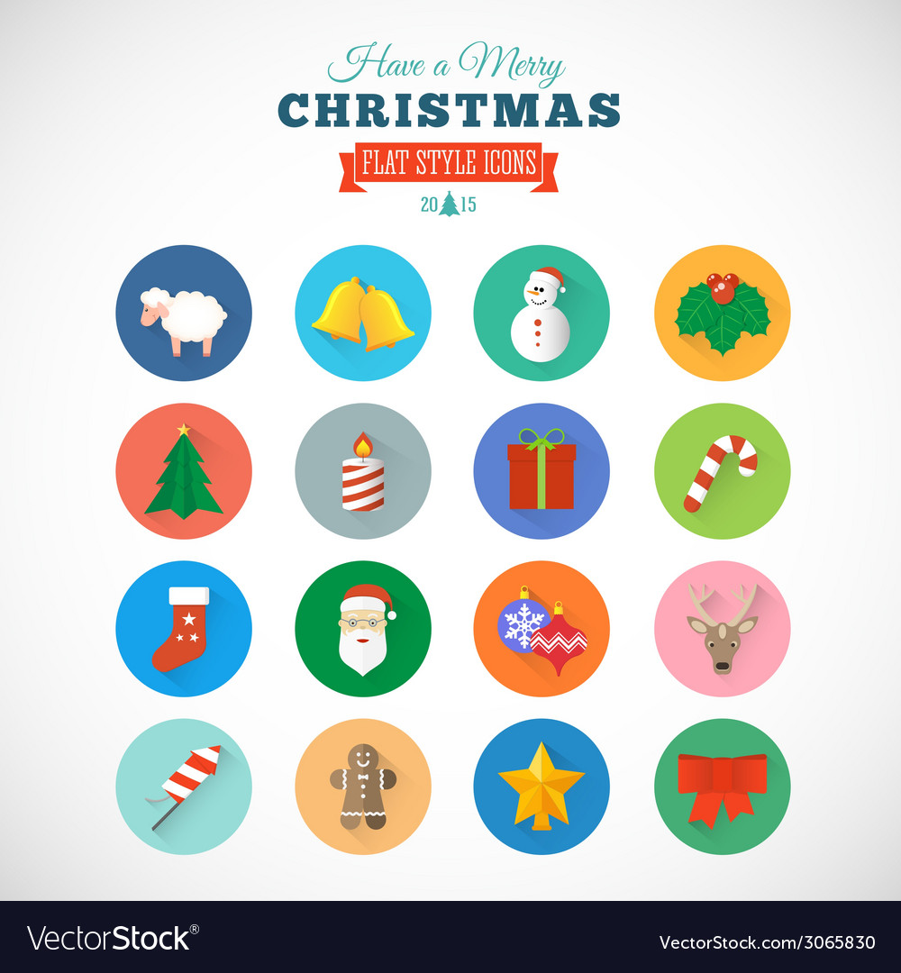 Flat style christmas icon set with gift box santa vector | Price: 1 Credit (USD $1)