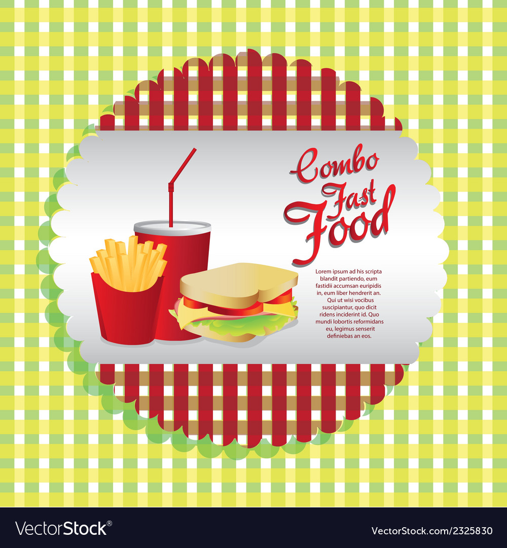 Labels fast food combo with a french fries soda an vector | Price: 1 Credit (USD $1)