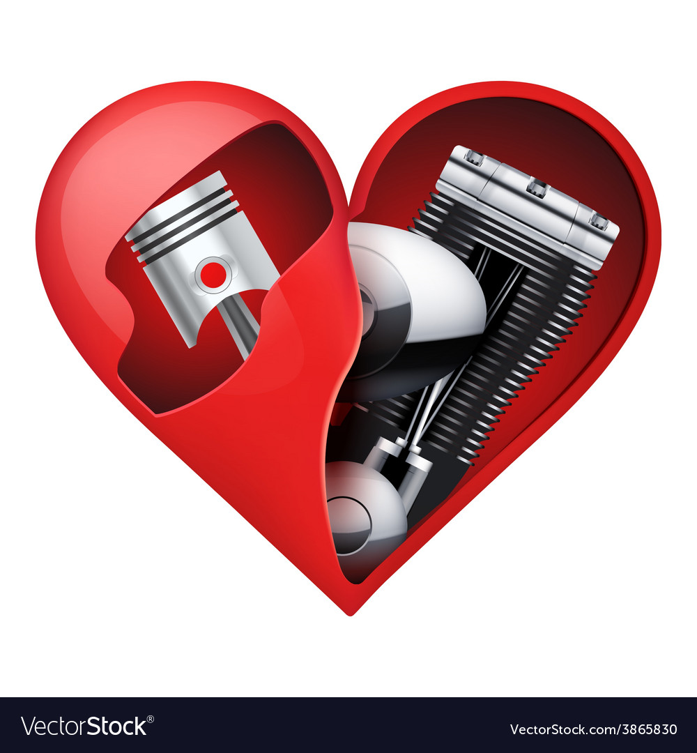 Metal engine inside a red heart vector | Price: 3 Credit (USD $3)