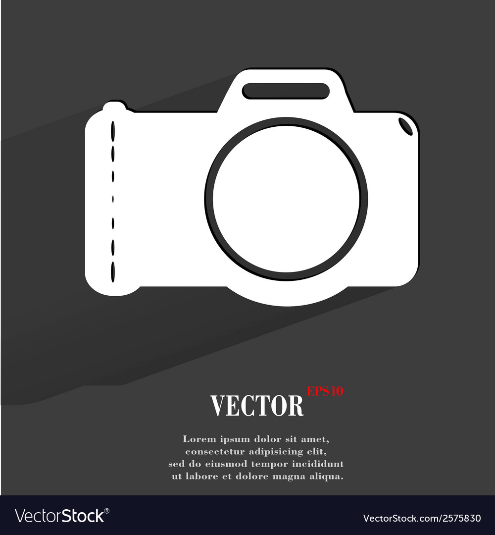 Photo camera flat modern web button with long vector | Price: 1 Credit (USD $1)