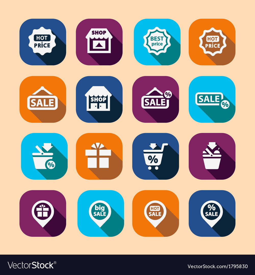 Shopping long shadow icons vector | Price: 1 Credit (USD $1)