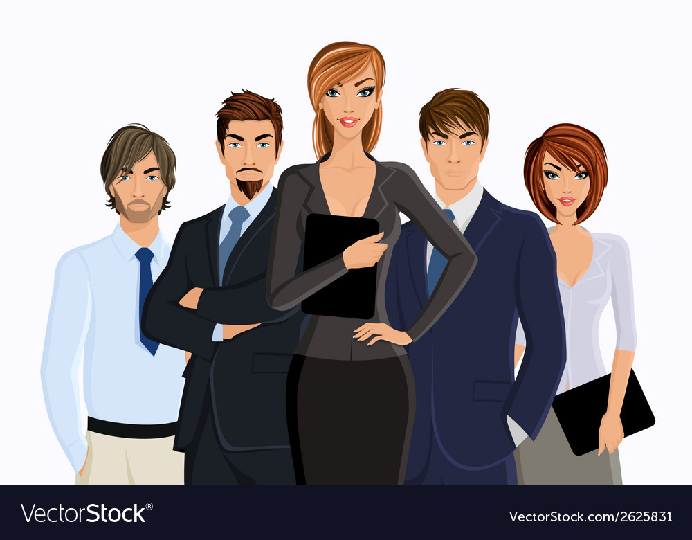 Busines woman with business team vector | Price: 1 Credit (USD $1)