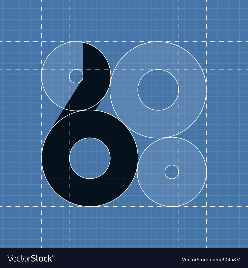 Round engineering font symbol 6 vector | Price: 1 Credit (USD $1)