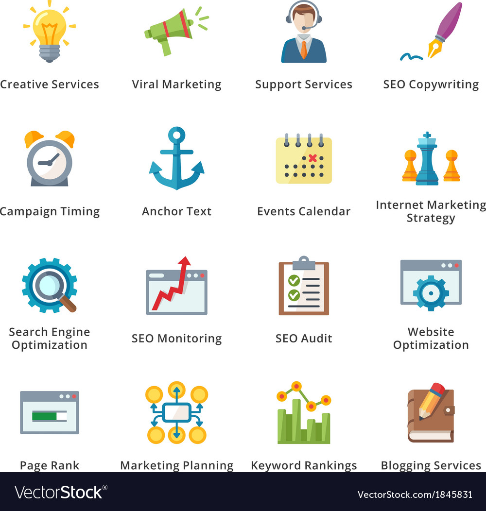 Seo and internet marketing flat icons - set 5 vector | Price: 1 Credit (USD $1)