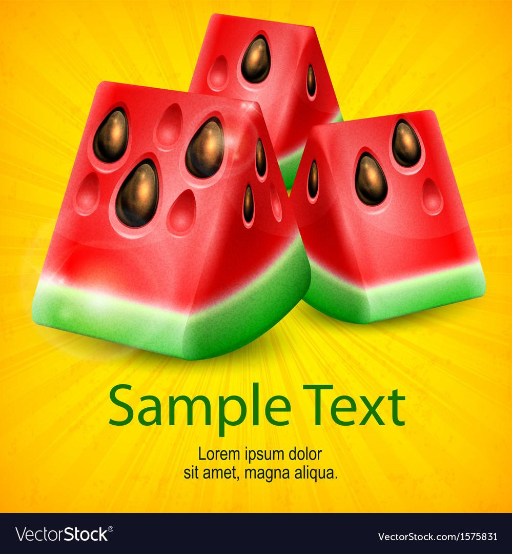 Watermelon on yellow vector | Price: 1 Credit (USD $1)