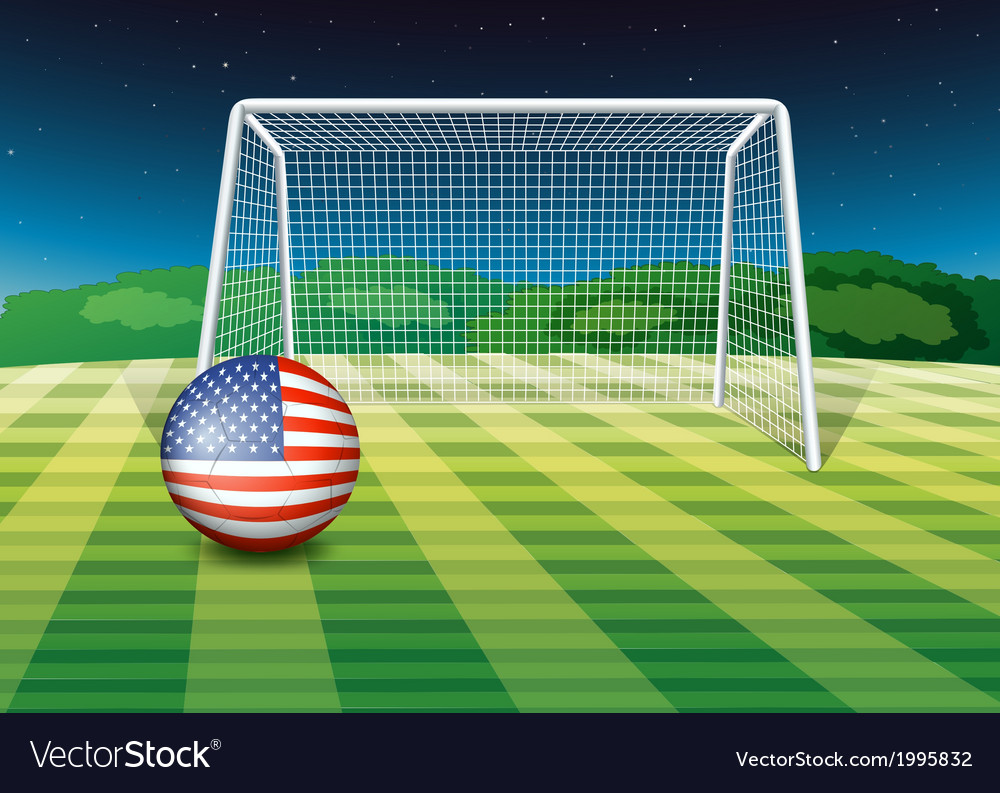 A soccer ball at the field with the flag of the vector | Price: 1 Credit (USD $1)