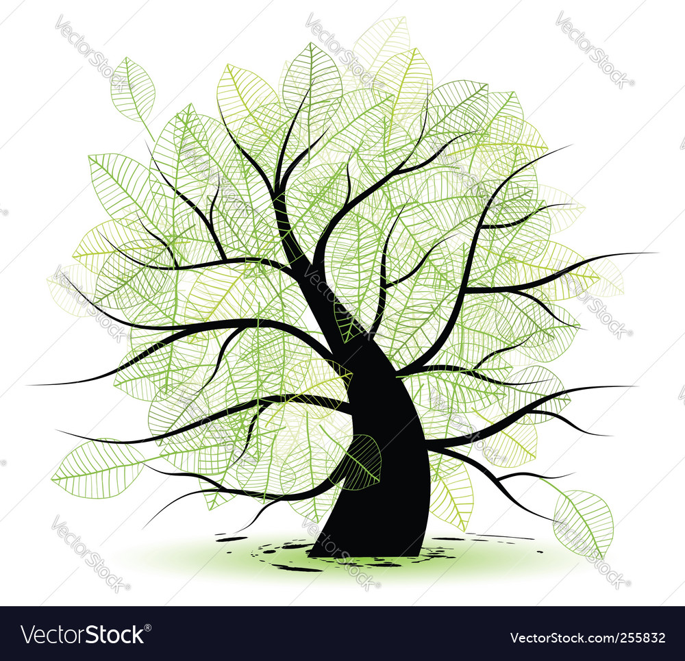 Big old tree green leaf vector | Price: 1 Credit (USD $1)