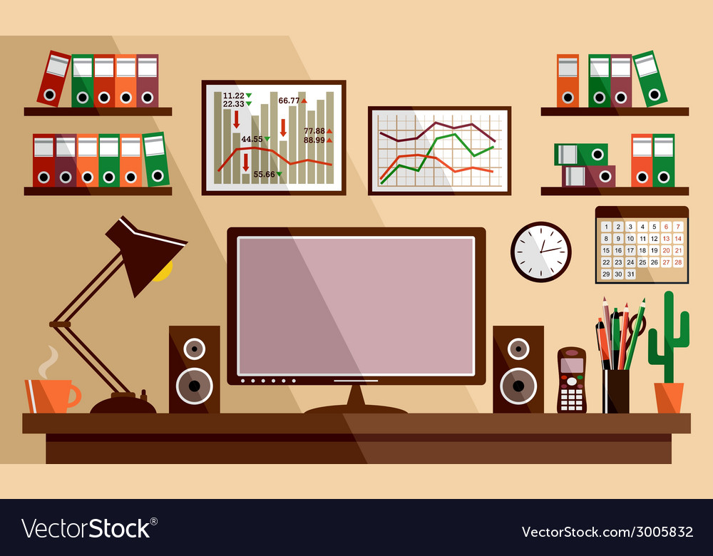 Business workplace with office things equipment vector | Price: 1 Credit (USD $1)