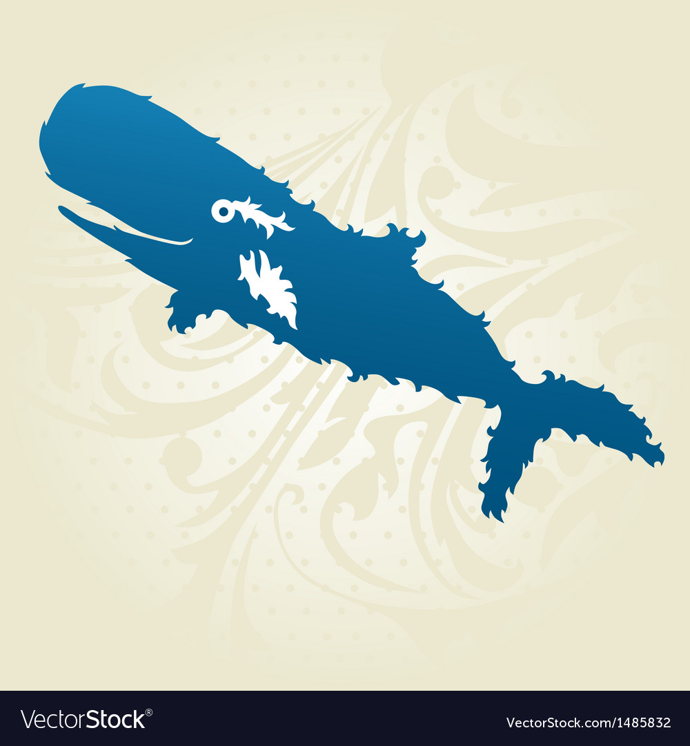 Decorative whale vector | Price: 1 Credit (USD $1)