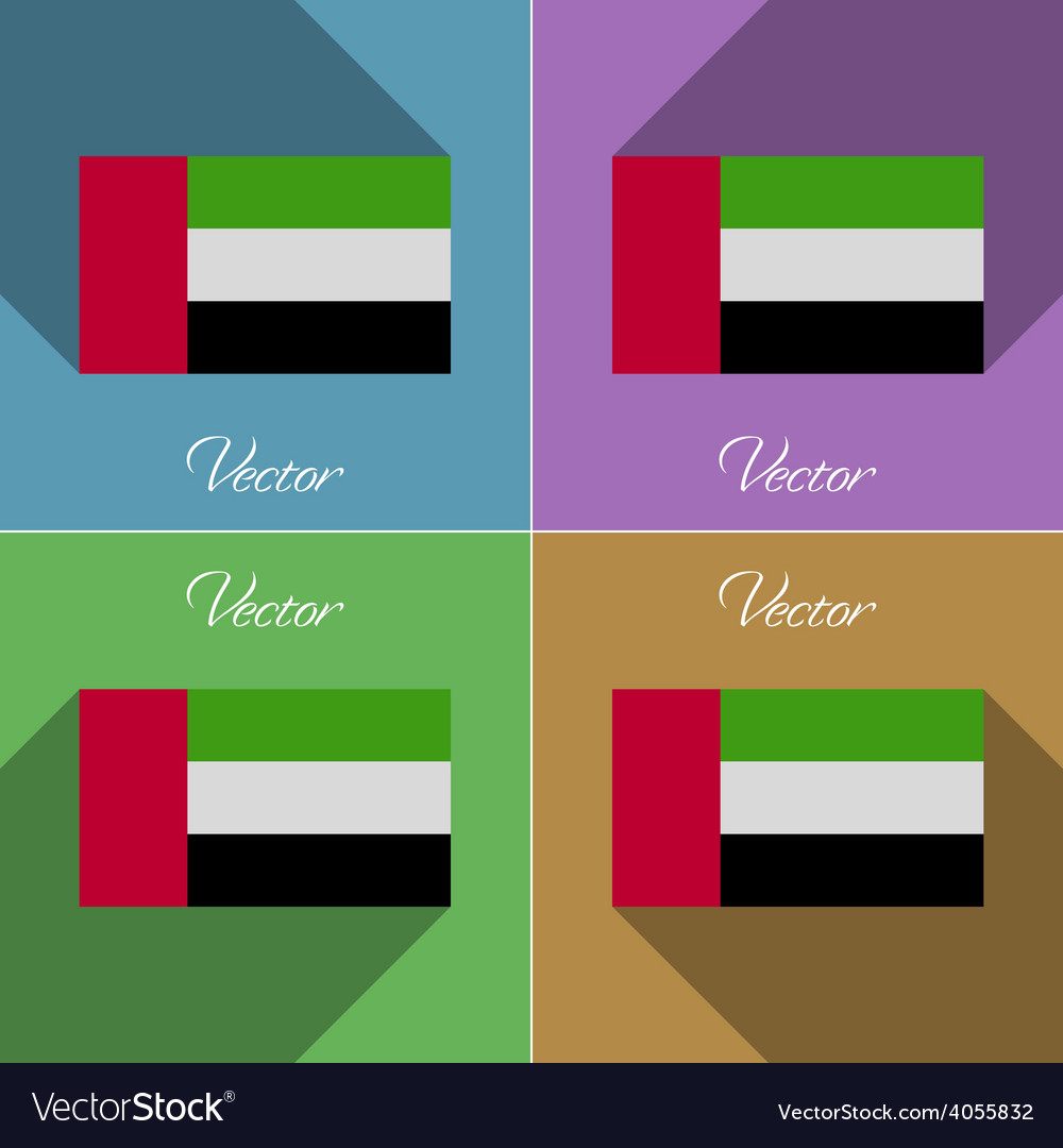 Flags united arab emirates set of colors flat vector | Price: 1 Credit (USD $1)