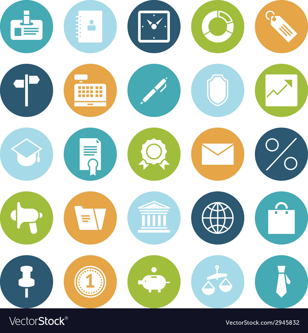 Flat design icons for business vector | Price: 1 Credit (USD $1)