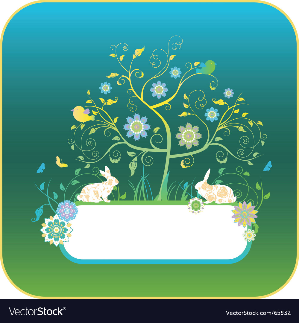 Floral background with rabbits vector | Price: 1 Credit (USD $1)