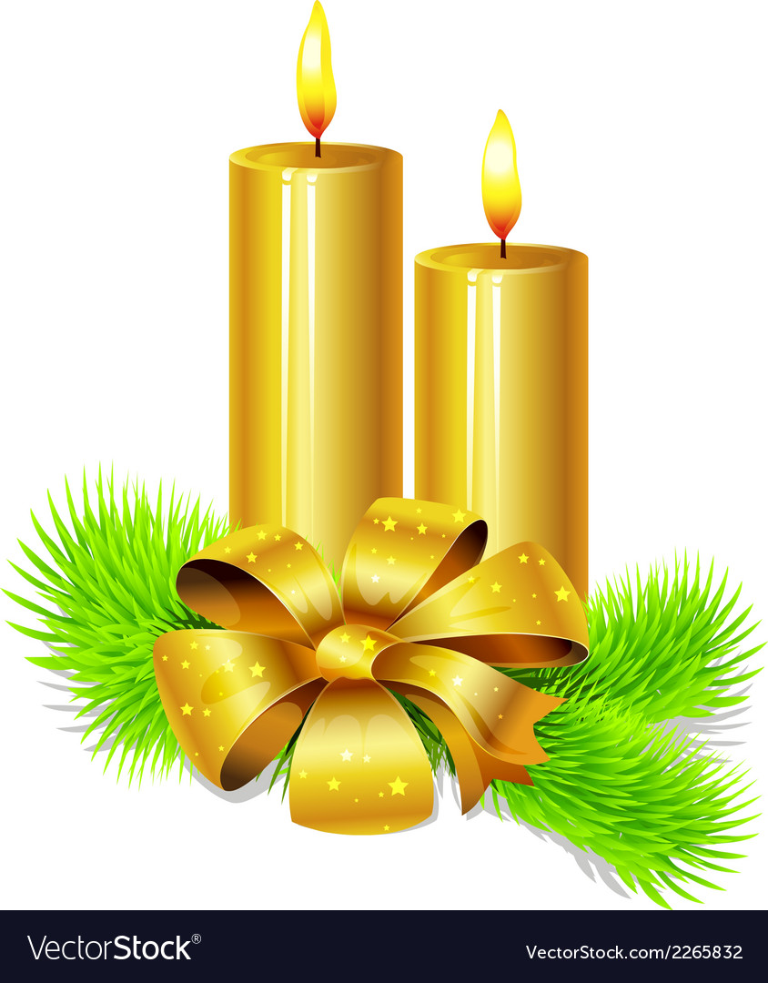 Golden candle with bow decoration and fir twig vector | Price: 1 Credit (USD $1)