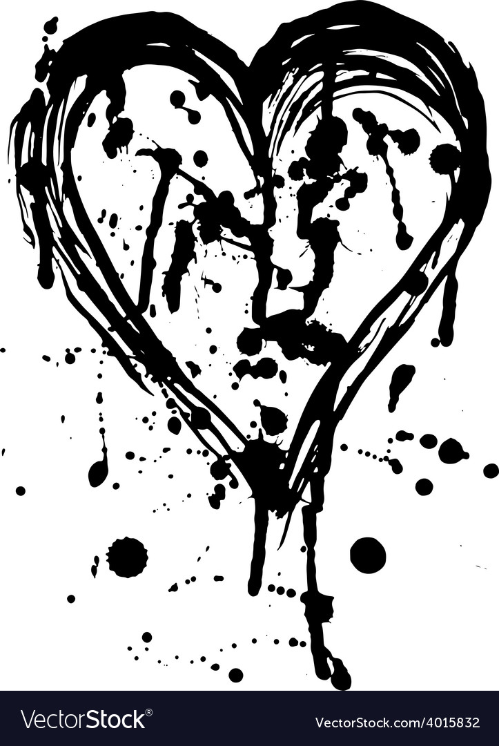 Heart drops of paint black sketch vintage poster vector | Price: 1 Credit (USD $1)