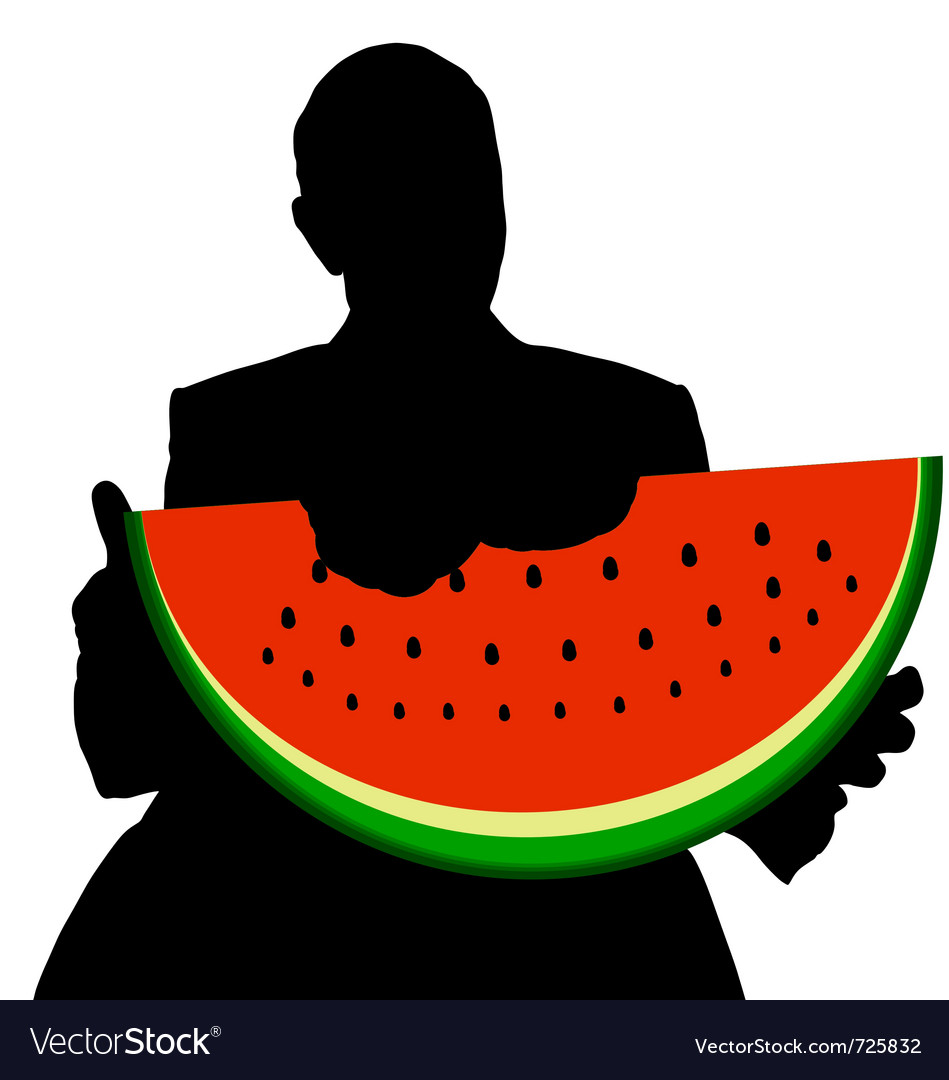 Man with watermelon vector | Price: 1 Credit (USD $1)