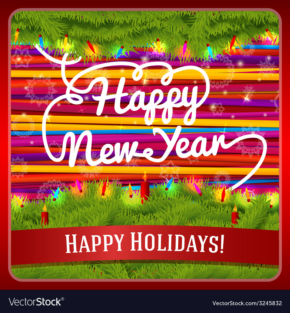 New year greeting card decorated by pine wreath vector | Price: 1 Credit (USD $1)