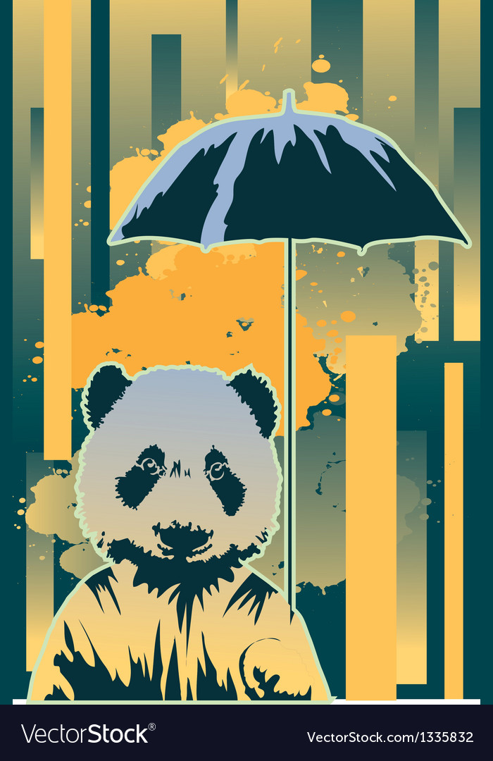 Panda in rain vector | Price: 1 Credit (USD $1)