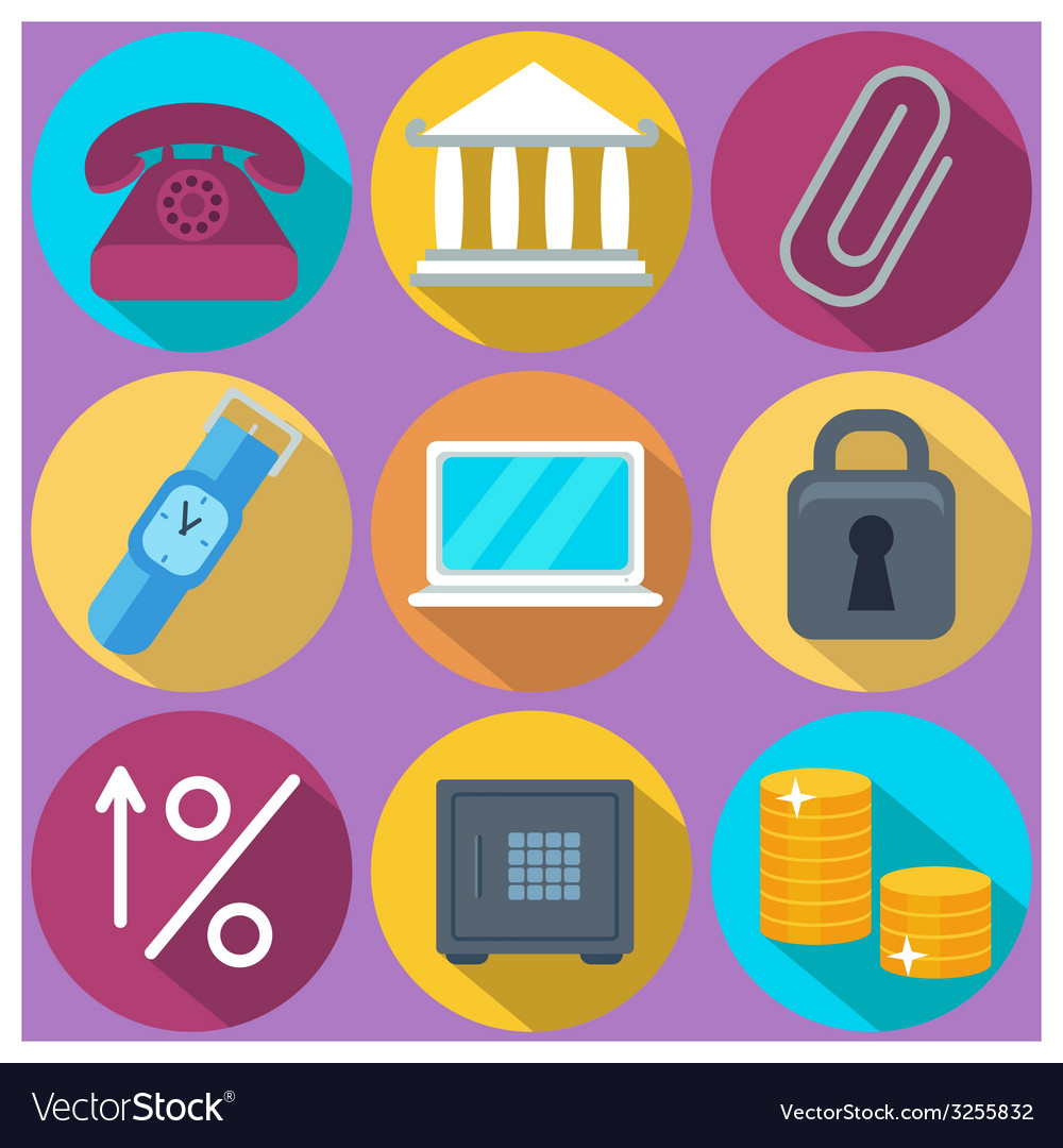 Set of 9 finance and banking colorful round icons vector | Price: 1 Credit (USD $1)
