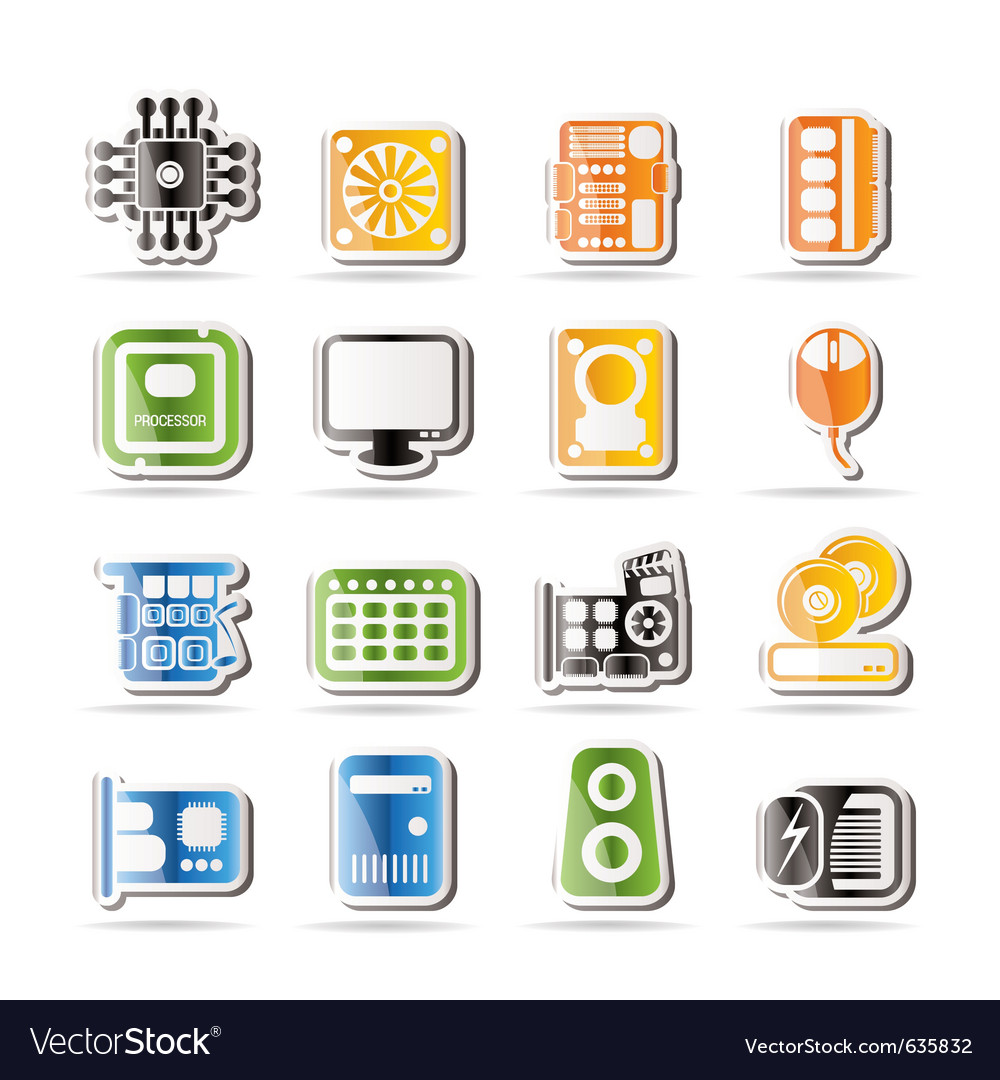 Simple computer performance and equipment icons vector | Price: 1 Credit (USD $1)
