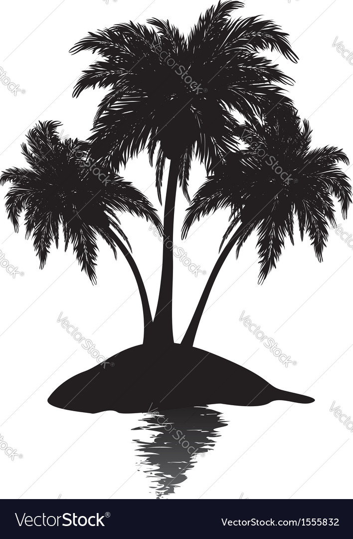Small island silhouette vector | Price: 1 Credit (USD $1)