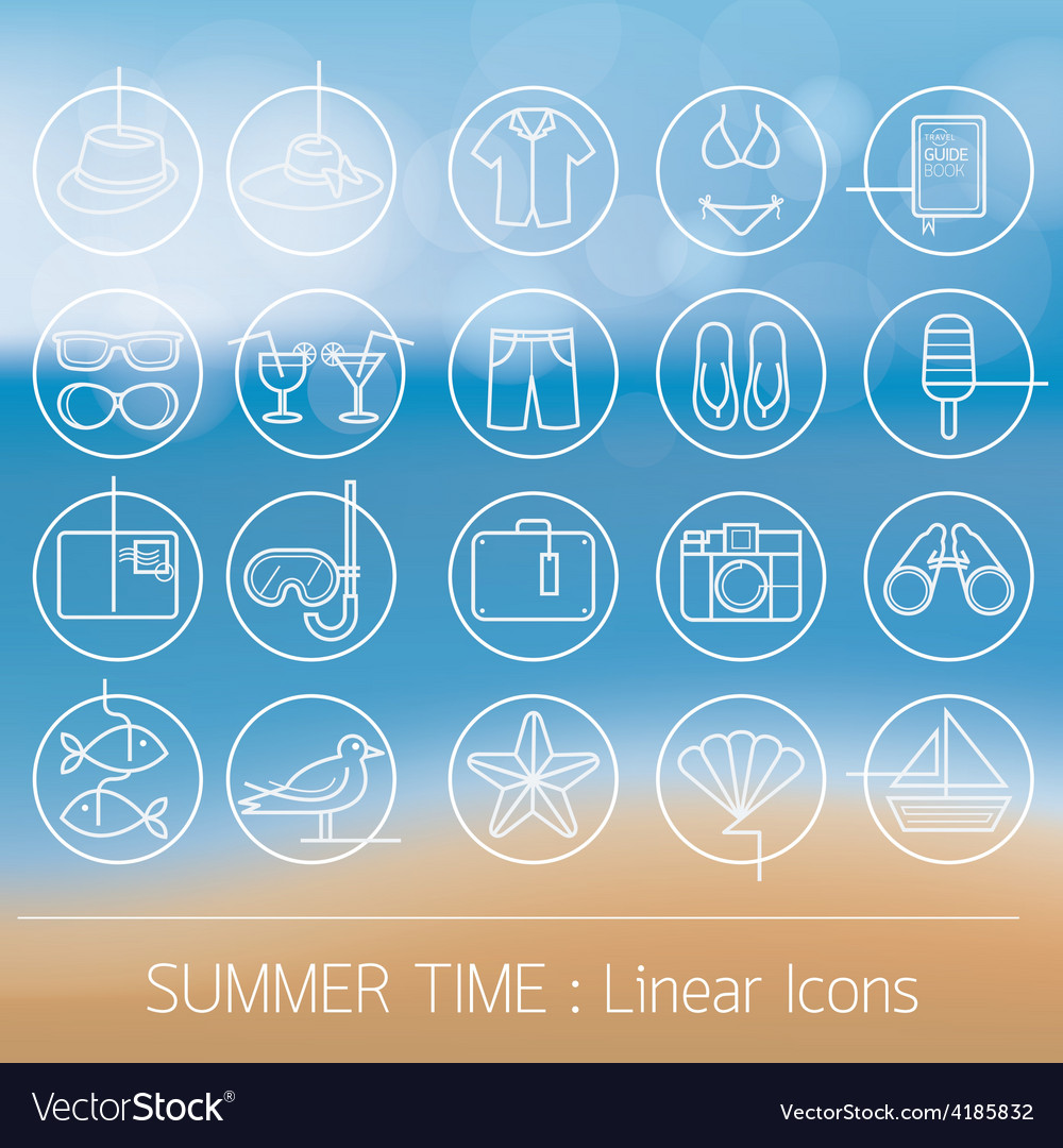 Summer objects linear icons set on blur background vector