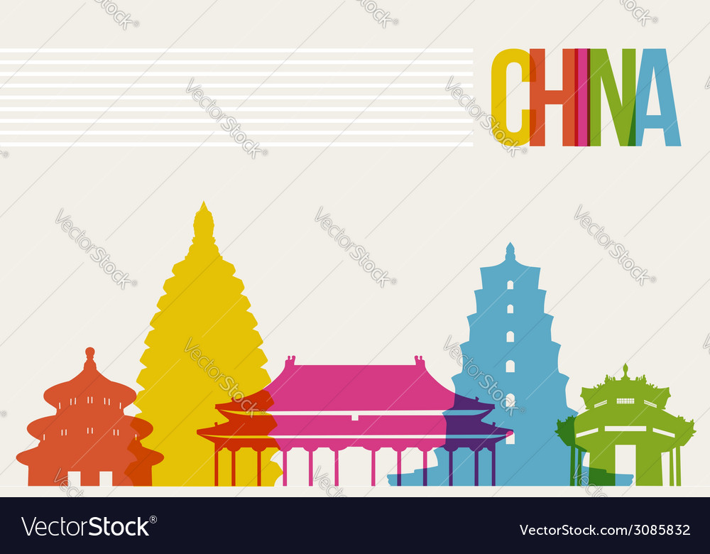Travel china destination landmarks skyline vector | Price: 1 Credit (USD $1)