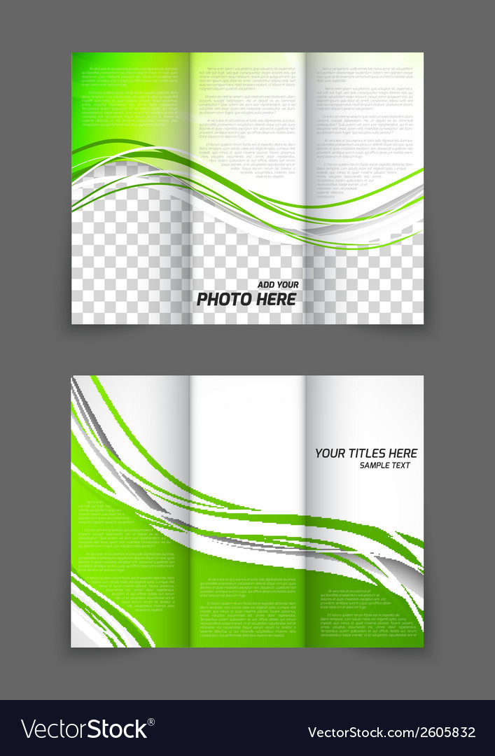 Tri-fold green wave brochure vector | Price: 1 Credit (USD $1)
