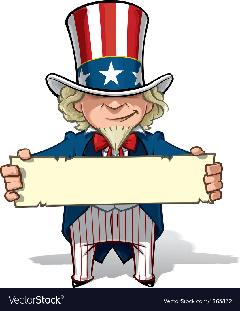 Uncle sam holding a sign vector | Price: 3 Credit (USD $3)