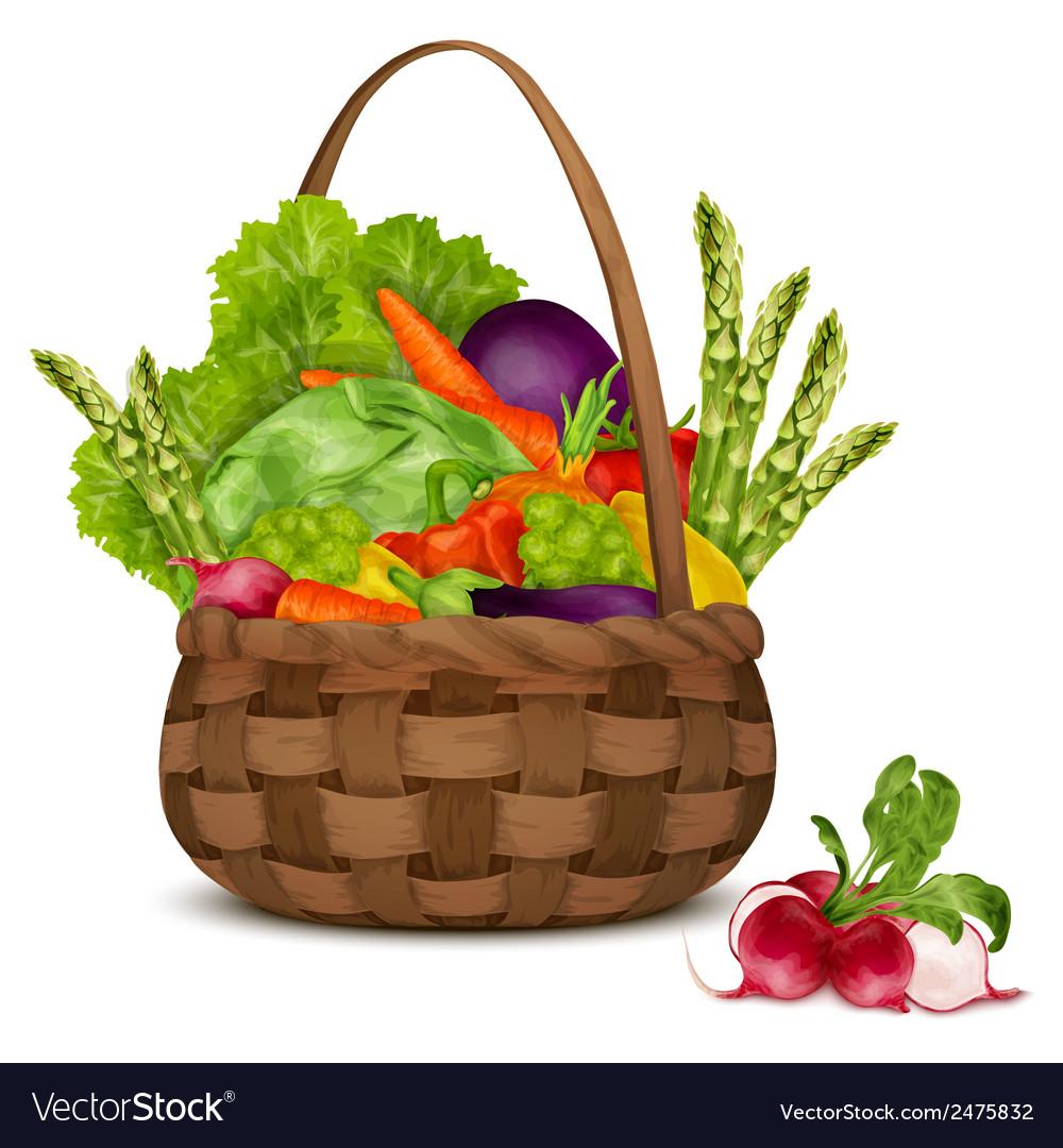 Vegetables in basket vector | Price: 1 Credit (USD $1)