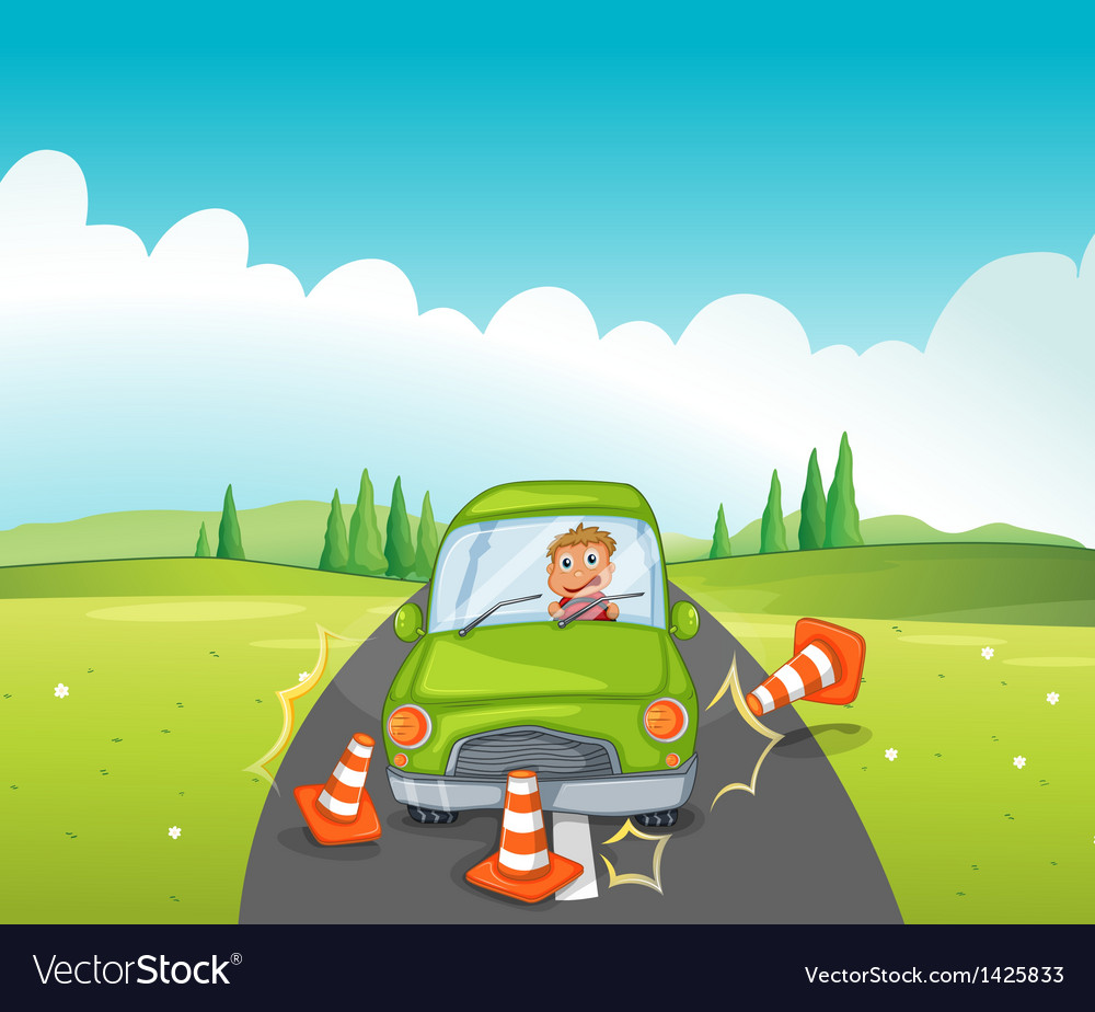 A car crash at the road near the hill vector | Price: 1 Credit (USD $1)