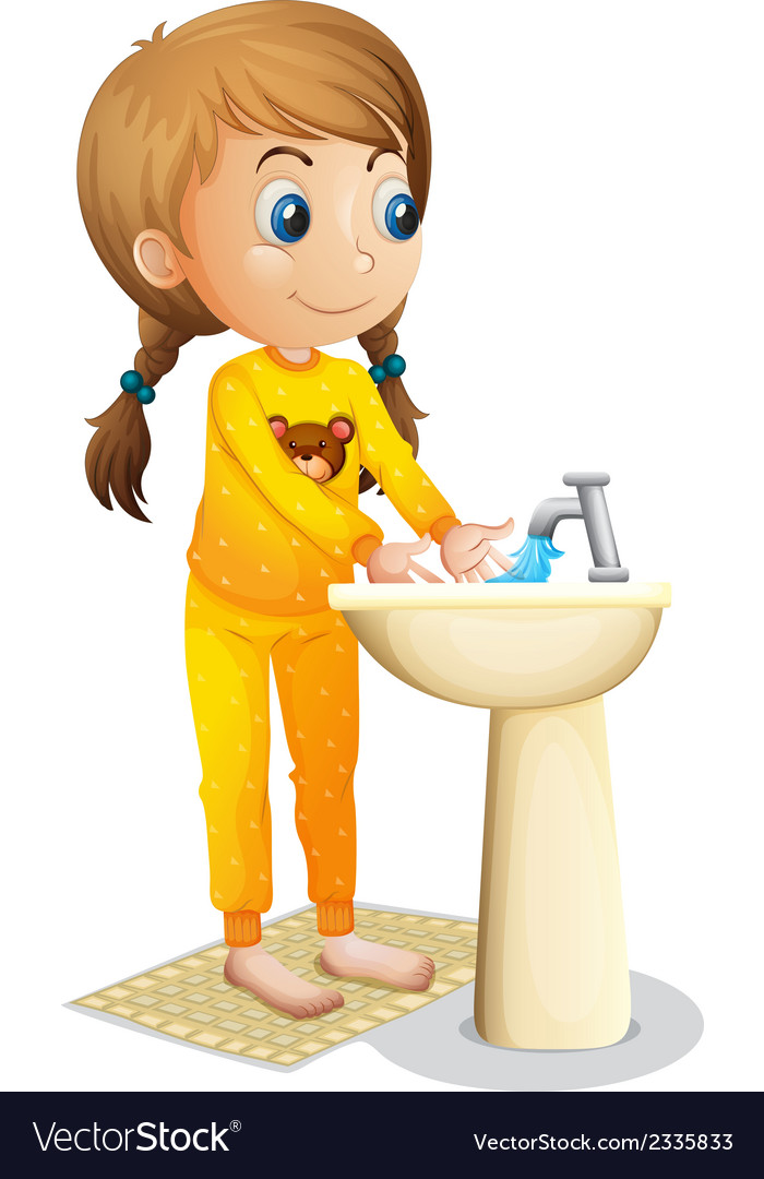 A cute young girl washing her hands vector | Price: 1 Credit (USD $1)