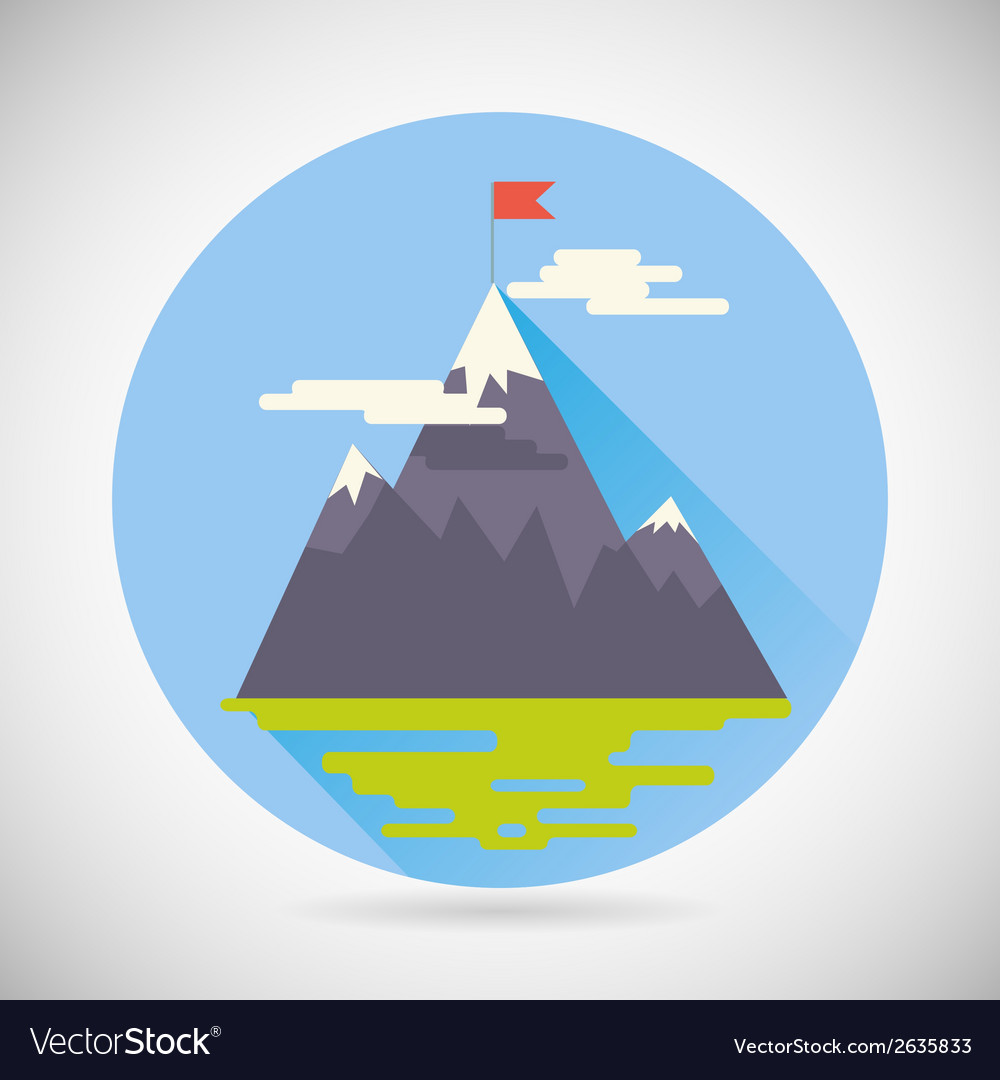 Achievement top point flag goal symbol mountain vector | Price: 1 Credit (USD $1)