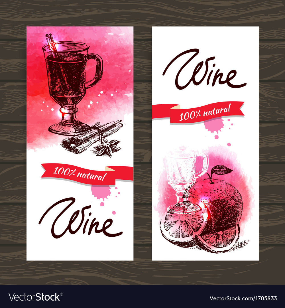 Banners of mulled wine vintage background vector | Price: 1 Credit (USD $1)